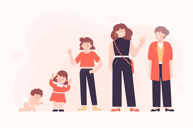 Persona nel concetto di età diverse per l'illustrazione Vettore gratuito