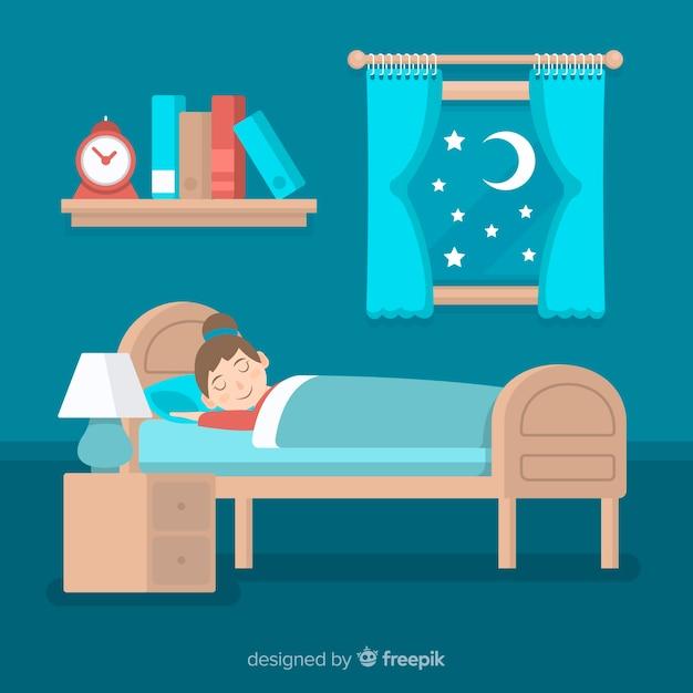 Persona piatta che dorme nel letto Vettore gratuito
