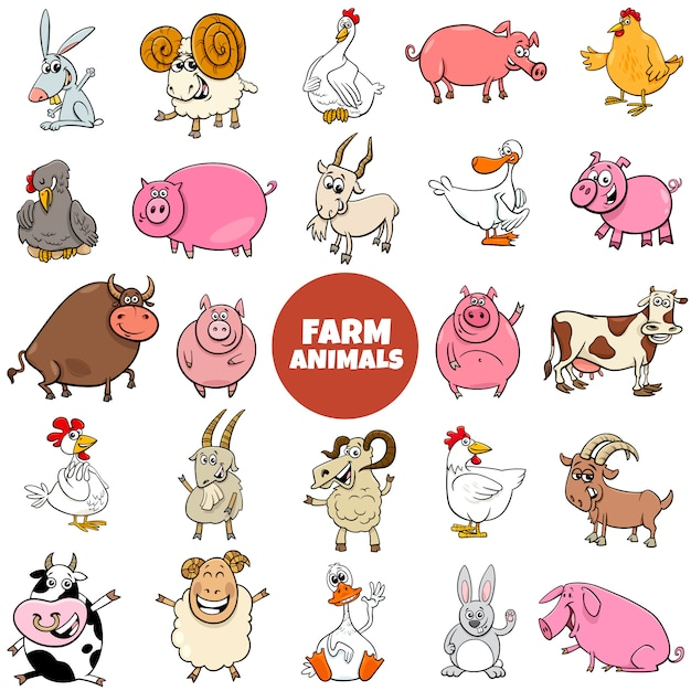 Personaggi dei cartoni animati animali da fattoria grande insieme Vettore Premium