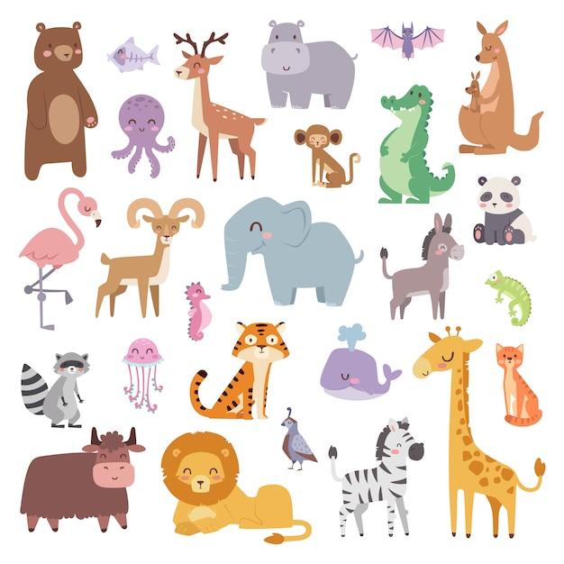 Personaggi dei cartoni animati animali e collezioni di simpatici animali selvatici dei cartoni animati Vettore Premium