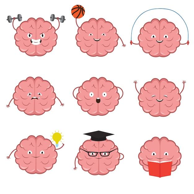 Personaggi dei cartoni animati del cervello forte, sano, sportivo e intelligente Vettore Premium