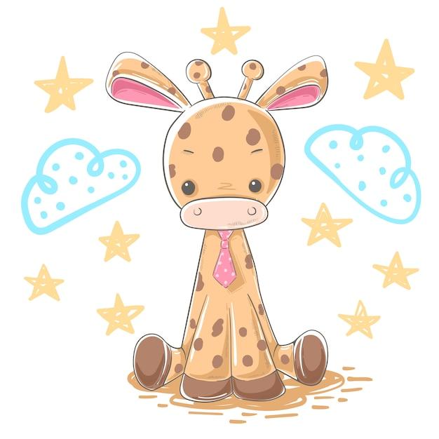 Personaggi dei cartoni animati dell'illustrazione della giraffa del fumetto Vettore Premium