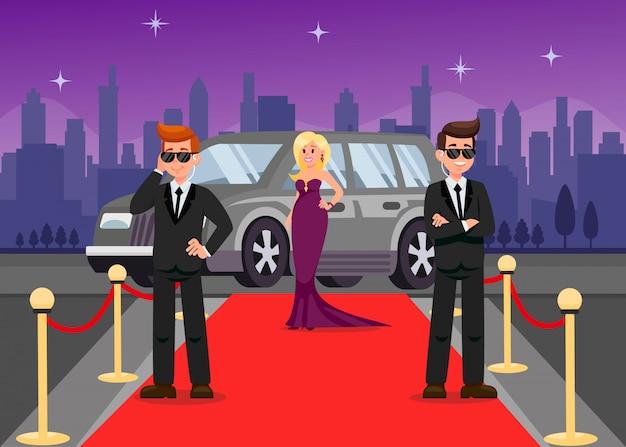 Personaggi dei cartoni animati delle guardie del corpo e delle celebrità femminili Vettore Premium