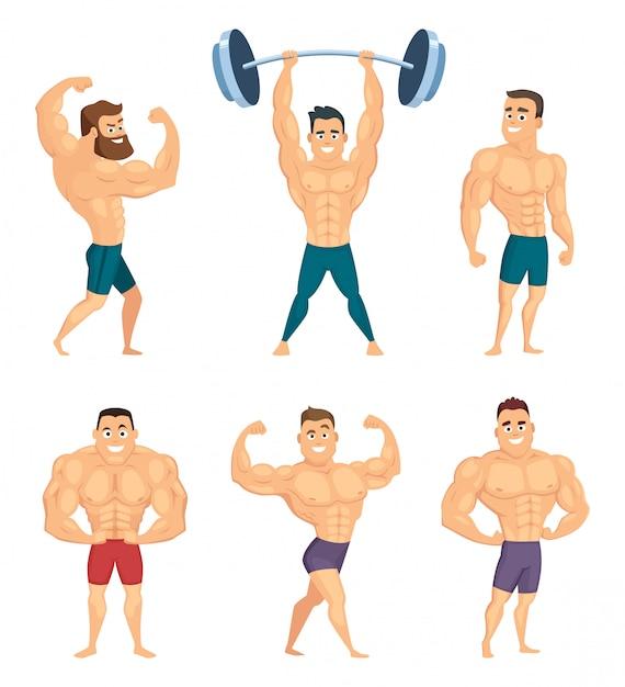 Personaggi dei cartoni animati di bodybuilder forti e muscolosi Vettore Premium