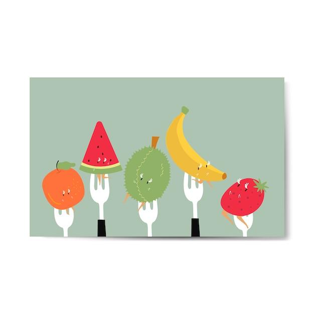Personaggi dei cartoni animati di frutta tropicale fresca sul vettore di forcelle Vettore gratuito