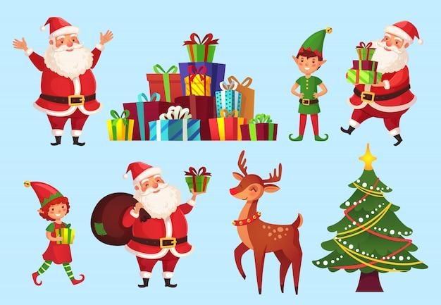 Personaggi dei cartoni animati di natale. abete con regali di babbo natale, elfi aiutanti di babbo natale e cervi vacanze invernali insieme Vettore Premium