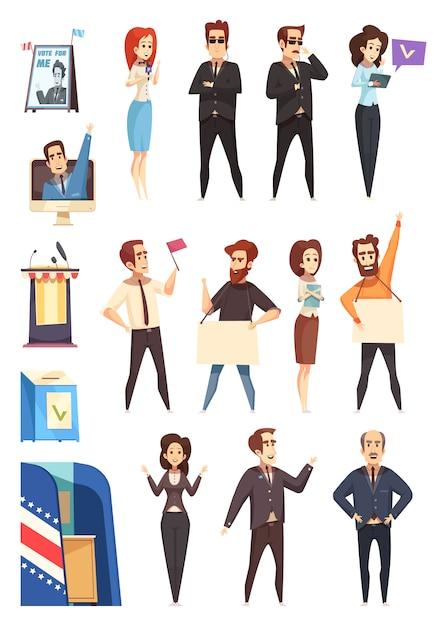 Personaggi dei cartoni animati di politici politici impostati Vettore gratuito