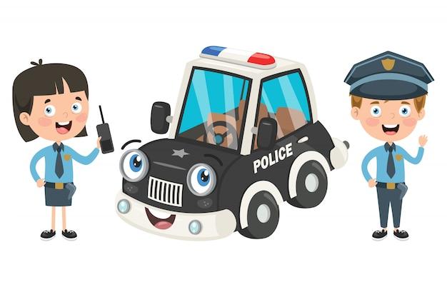 Personaggi dei cartoni animati di ufficiali di polizia maschili e femminili Vettore Premium