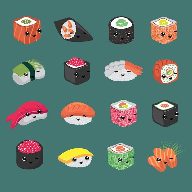 Personaggi dei cartoni animati di vettore di sushi giapponese carino e divertente Vettore Premium
