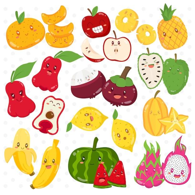 Personaggi dei cartoni animati divertenti di frutti tropicali messi Vettore Premium