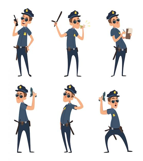 Personaggi dei cartoni animati divertenti di poliziotti in pose di azione Vettore Premium