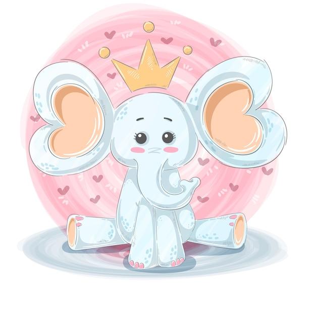 Personaggi dei cartoni animati elefante Vettore Premium