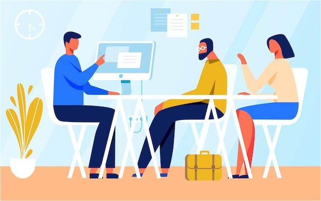 Personaggi dei cartoni animati in illustrazione riunione Vettore Premium