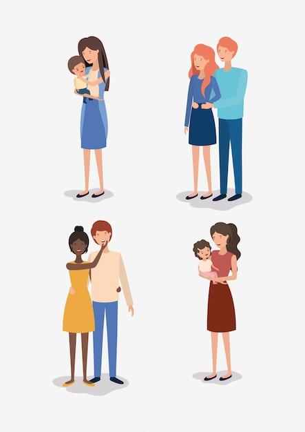 Personaggi dei membri del family day Vettore Premium