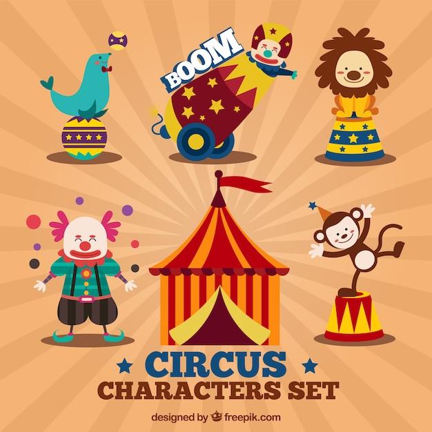 Personaggi del circo set Vettore gratuito