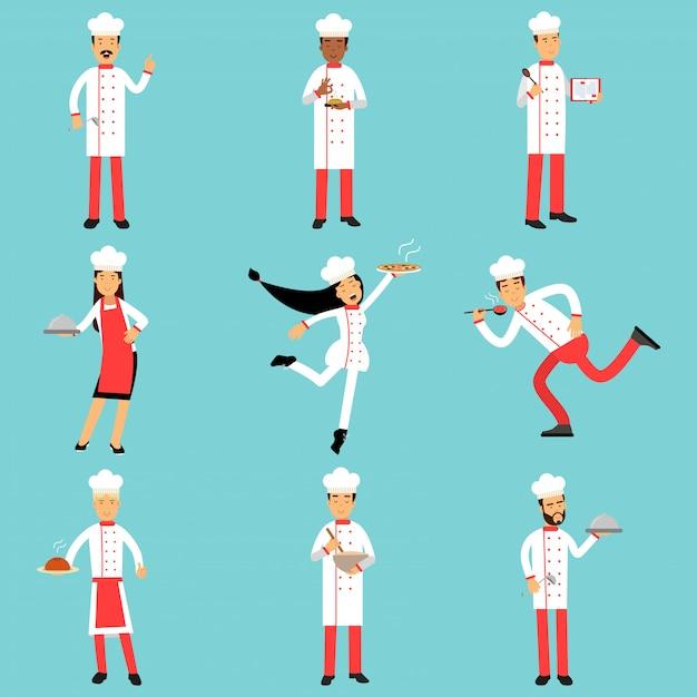 Personaggi del personale di cucina professionale al lavoro. chief cooks and bakers set di illustrazioni colorate Vettore Premium