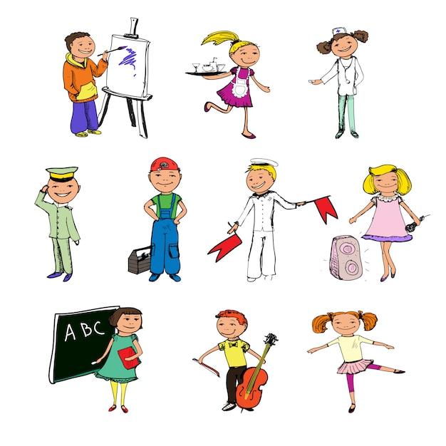 Personaggi delle professioni dei bambini Vettore gratuito