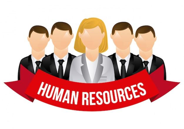 Personaggi delle risorse umane con banner over white Vettore gratuito