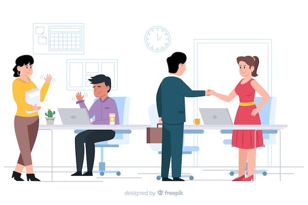 Personaggi design piatto saluto nel posto di lavoro Vettore gratuito