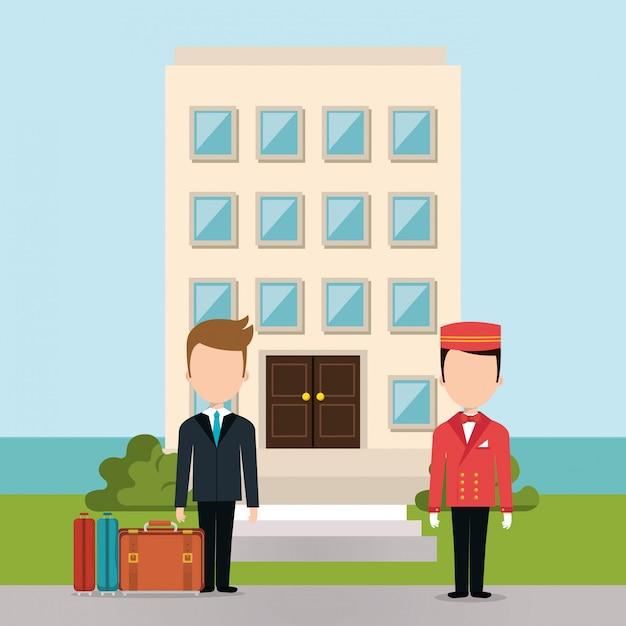 Personaggi di avatar di lavoratori dell'hotel Vettore gratuito