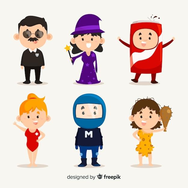 Personaggi di carnevale in costume Vettore gratuito