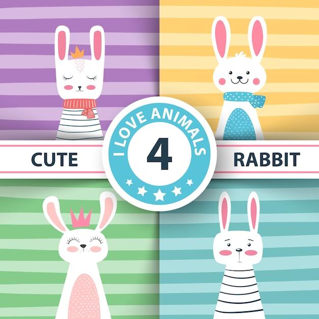 Personaggi di coniglio illustrazione invernale carino Vettore Premium