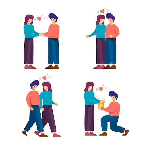 Personaggi di coppia simpatico cartone animato per san valentino Vettore gratuito