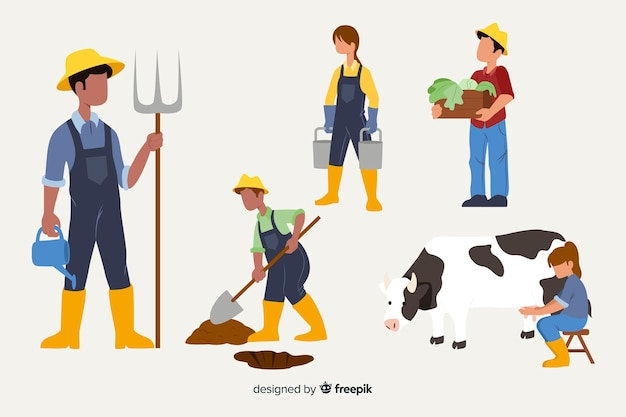 Personaggi di design piatto che lavorano in campi agricoli Vettore gratuito