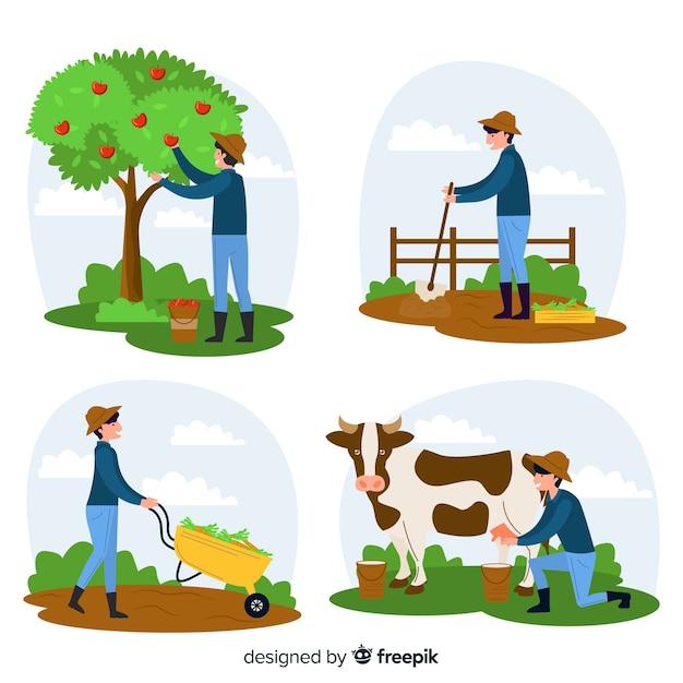 Personaggi di lavoratori agricoli in fattoria Vettore gratuito