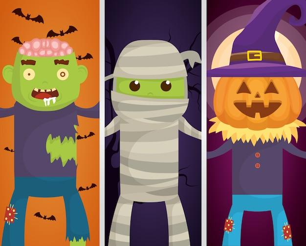 Personaggi di mostri di halloween Vettore gratuito