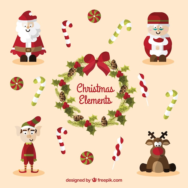 Immagini Natalizie Divertenti Gratis.Personaggi Di Natale Divertenti Scaricare Vettori Gratis