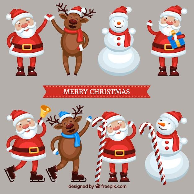 Immagini Di Natale Divertenti Gratis.Personaggi Di Natale Divertenti Scaricare Vettori Gratis