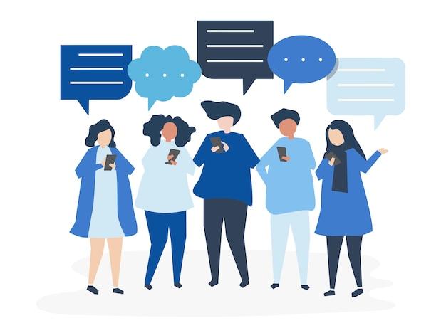 Personaggi di persone che chattano tramite smartphone Vettore gratuito