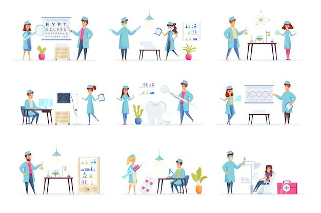 Personaggi di persone di raccolta di medicina Vettore Premium