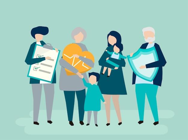 Personaggi di una famiglia allargata con illustrazione di assistenza sanitaria Vettore gratuito