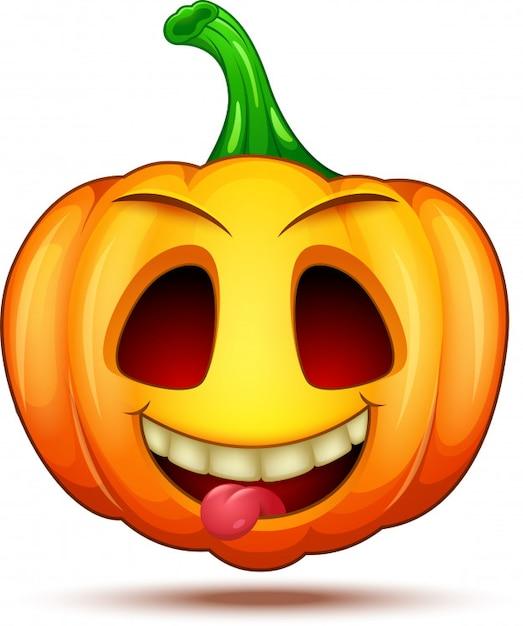 Personaggi di zucca divertenti, divertenti e pazzi. emoticon di halloween cartoon Vettore Premium