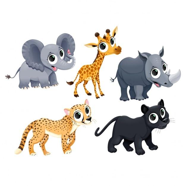 Personaggi divertenti animali africani vector cartoon isolati Vettore gratuito