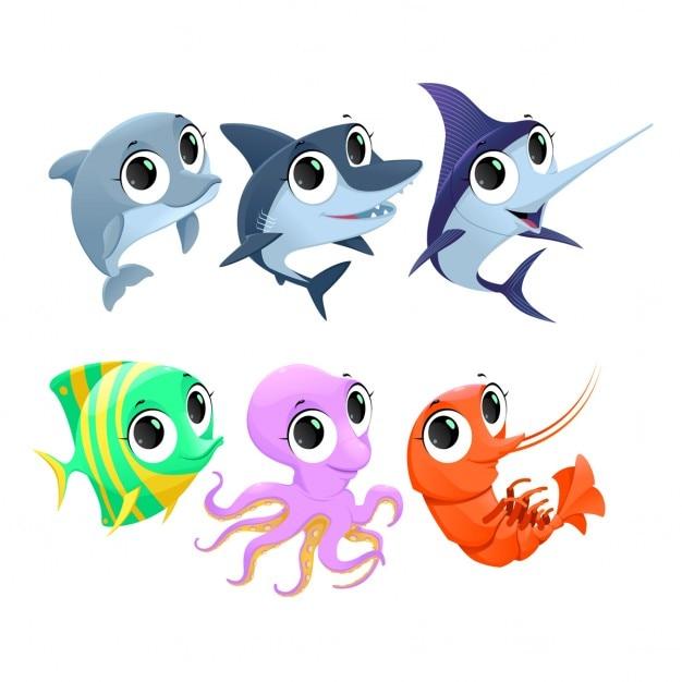 Personaggi divertenti animali marini del fumetto di vettore isolate Vettore gratuito