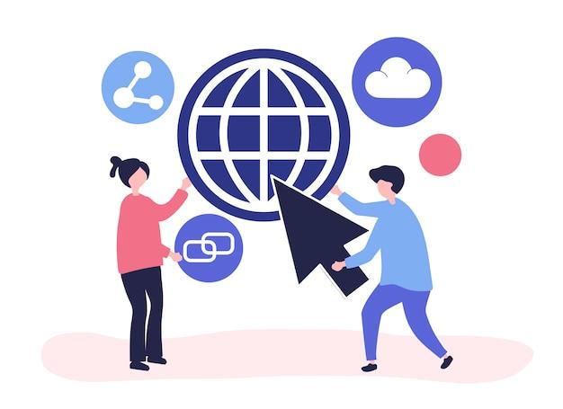 Personaggi e illustrazione di concetto di comunicazione globale Vettore gratuito