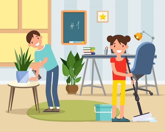 Personaggi figlio e figlia che puliscono la stanza dei bambini, Vettore Premium