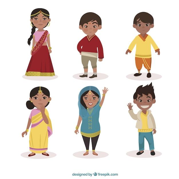 Personaggi indiani confezione Vettore gratuito