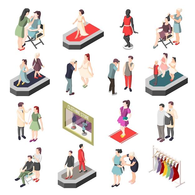 Personaggi isometrici dell'industria della moda Vettore gratuito