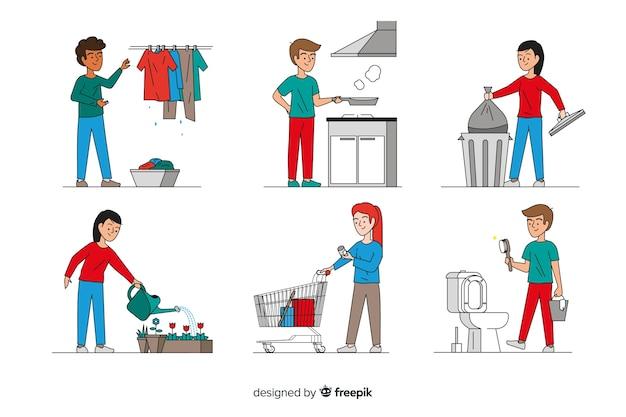 Personaggi minimalisti che svolgono lavori domestici Vettore gratuito