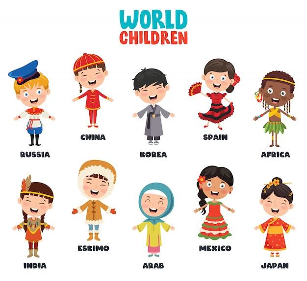 Personaggi multiculturali del mondo Vettore Premium