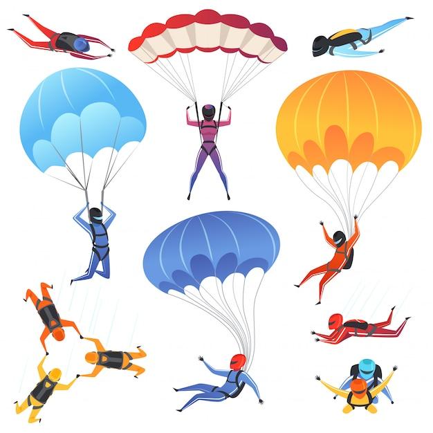 Personaggi parapendio e paracadutismo Vettore Premium