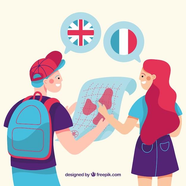 Personaggi piatti che parlano lingue diverse Vettore gratuito