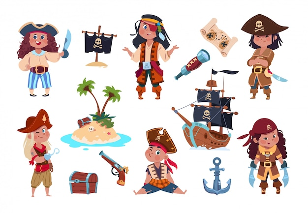 Personaggi pirata. cartoon bambini pirati, marinai e capitano set vettoriale isolato Vettore Premium