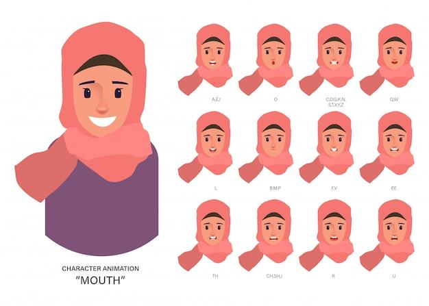 Personaggio arabo o musulmano avatar persone collezione di sincronizzazione labiale per l'animazione della bocca. Vettore Premium
