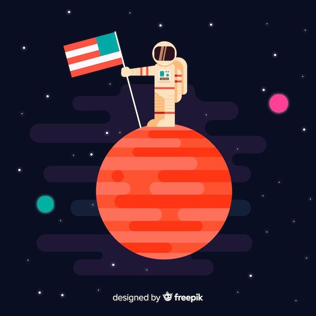 Personaggio astronauta classico con design piatto Vettore gratuito