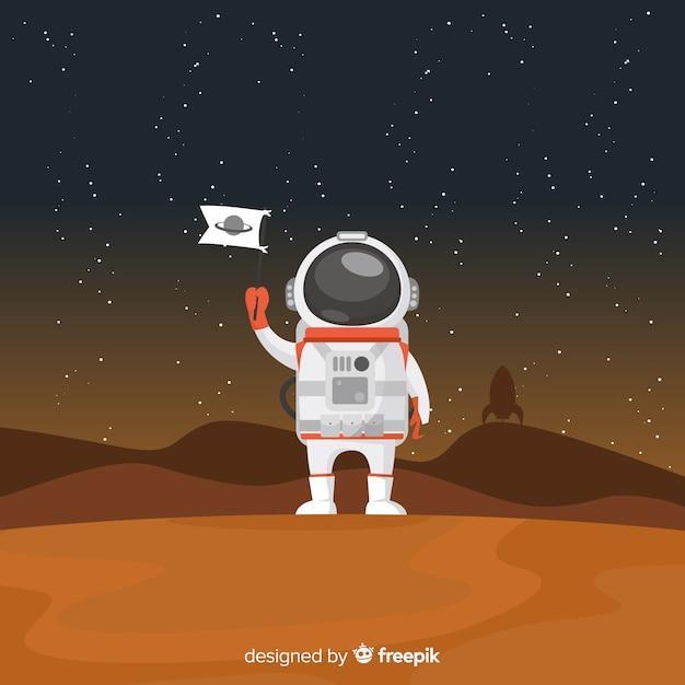 Personaggio astronauta moderno con design piatto Vettore gratuito